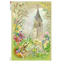 Old Fashioned Easter Scene Rice Paper Decoupage Sheet ~ Italy