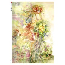 Easter Maiden Rice Paper Decoupage Sheet ~ Italy