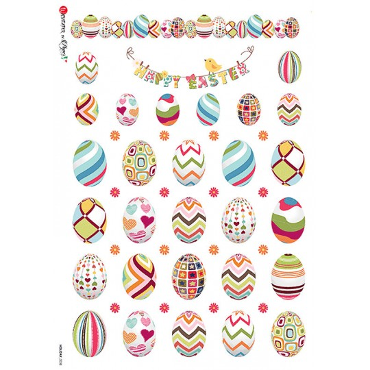 Colorful Easter Eggs Rice Paper Decoupage Sheet ~ Italy