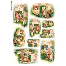 Easter Bunny Egg House Rice Paper Decoupage Sheet ~ Italy