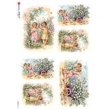 Angels with Flowers Rice Paper Decoupage Sheet ~ Italy