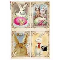 Old Fashioned Easter Bunnies Rice Paper Decoupage Sheet ~ Italy