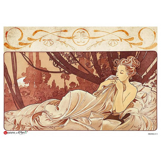 Art Nouveau Mucha Reclining Woman Rice Paper Decoupage Sheet ~ Italy