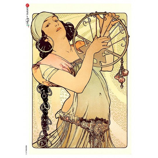 Art Nouveau Mucha Gypsy Woman Rice Paper Decoupage Sheet ~ Italy