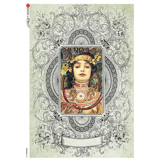 Art Nouveau Mucha Woman Rice Paper Decoupage Sheet ~ Italy
