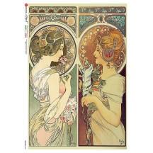 Art Nouveau Mucha Women Rice Paper Decoupage Sheet ~ Italy