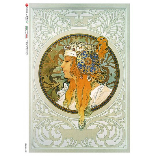 Art Nouveau Mucha Red Haired Maiden Rice Paper Decoupage Sheet ~ Italy