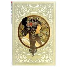 Art Nouveau Mucha Dark Haired Maiden Rice Paper Decoupage Sheet ~ Italy