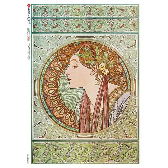 Art Nouveau Mucha Maiden Rice Paper Decoupage Sheet ~ Italy