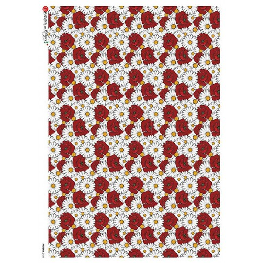Daisies and Poppies Floral Rice Paper Decoupage Sheet ~ Italy