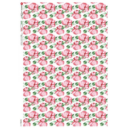 Pink Floral Rice Paper Decoupage Sheet ~ Italy