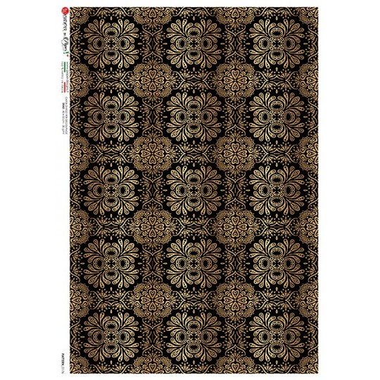 Elegant Black and Gold Rice Paper Decoupage Sheet ~ Italy