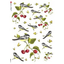 Birds and Cherries with Butterflies Rice Paper Decoupage Sheet ~ Italy