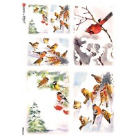 Snowy Mixed Birds and Cardinals Rice Paper Decoupage Sheet ~ Italy