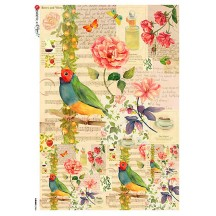 Bird and Flower Collage Rice Paper Decoupage Sheet ~ Italy