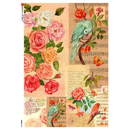 Birds and Roses Collage Rice Paper Decoupage Sheet ~ Italy