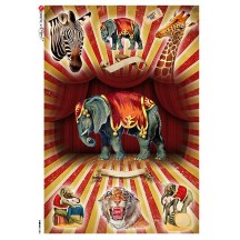 Circus Animals Rice Paper Decoupage Sheet ~ Italy