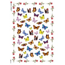 Mixed Butterflies with Roses Rice Paper Decoupage Sheet ~ Italy