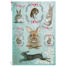 Blue Easter Bunnies Rice Paper Decoupage Sheet ~ Italy