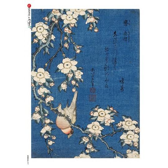 Blue Chinoiserie Bird and Flower Rice Paper Decoupage Sheet ~ Italy
