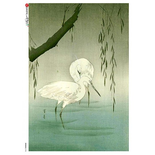 Chinoiserie Egrets in Pond Rice Paper Decoupage Sheet ~ Italy