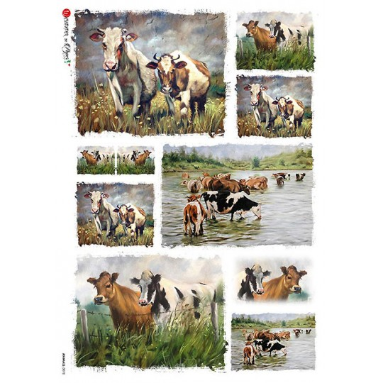 Mixed Cows Rice Paper Decoupage Sheet ~ Italy