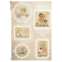Vintage Children and Babies Rice Paper Decoupage Sheet ~ Italy