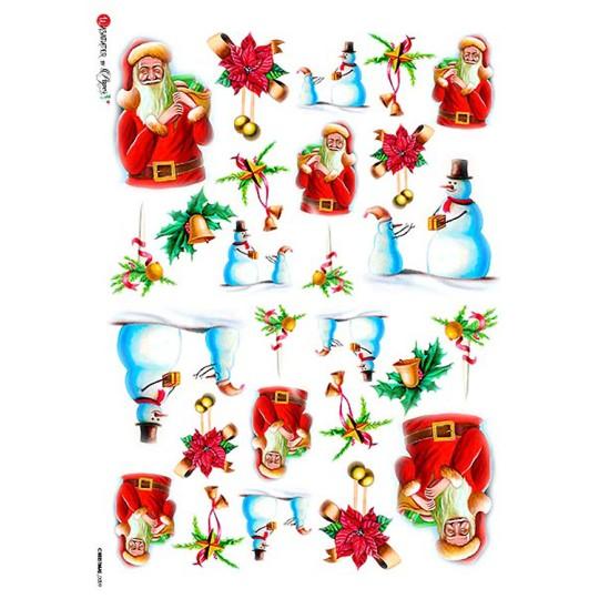 Santa and Snowmen Rice Paper Decoupage Sheet ~ Italy