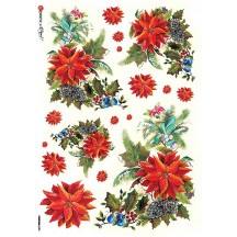 Poinsettia and Berries Christmas Rice Paper Decoupage Sheet ~ Italy