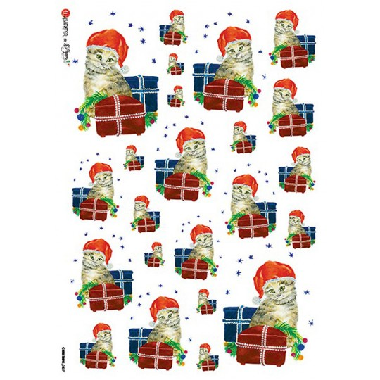 Christmas Cats and Gifts Rice Paper Decoupage Sheet ~ Italy
