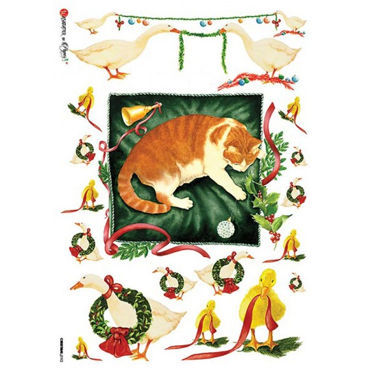 Christmas Geese and Cat Rice Paper Decoupage Sheet ~ Italy