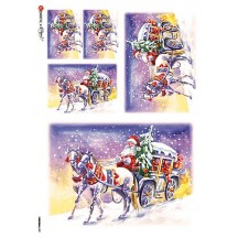 Colorful Santa Wagon Rice Paper Decoupage Sheet ~ Italy