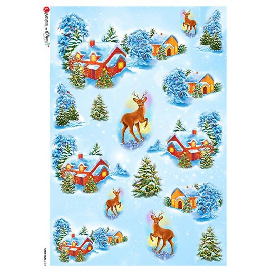 Christmas Cottages and Deer Rice Paper Decoupage Sheet ~ Italy