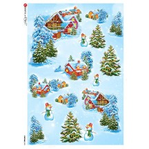Christmas Cottages and Snowmen Rice Paper Decoupage Sheet ~ Italy