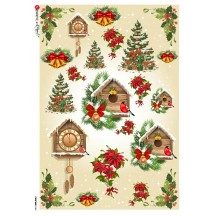 Christmas Clocks and Greenery Rice Paper Decoupage Sheet ~ Italy