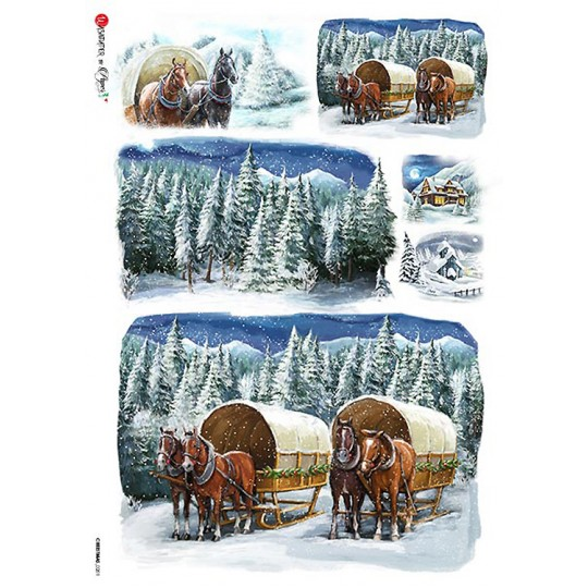 Snowy Covered Wagons Rice Paper Decoupage Sheet ~ Italy