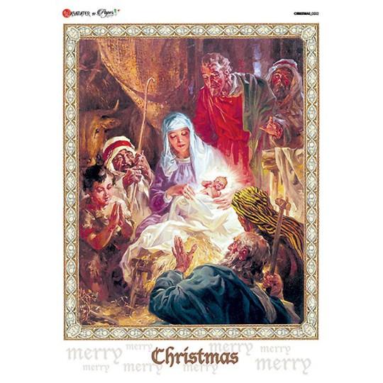 Classic Nativity Scene Rice Paper Decoupage Sheet ~ Italy
