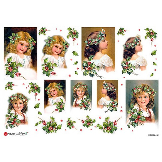 Christmas Holly Girls Rice Paper Decoupage Sheet ~ Italy