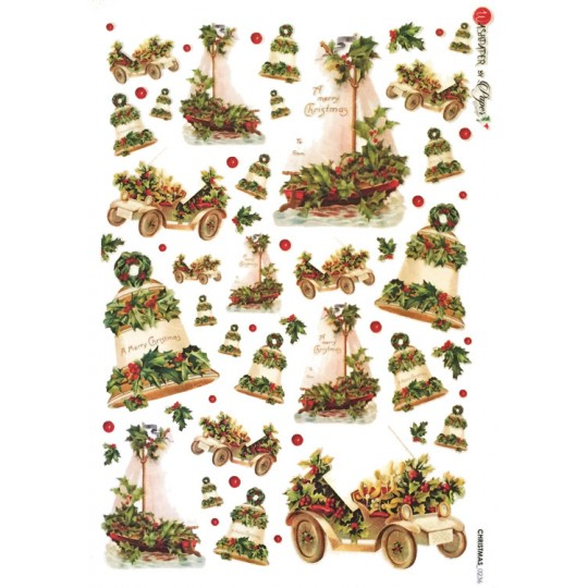 Christmas Holly Rice Paper Decoupage Sheet ~ Italy