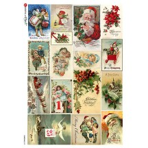 Small Vintage Christmas Scenes Rice Paper Decoupage Sheet ~ Italy