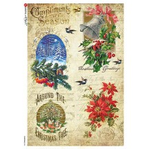 Vintage Christmas Scenes Rice Paper Decoupage Sheet ~ Italy