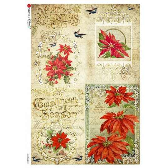 Vintage Christmas Poinsettia Collage Rice Paper Decoupage Sheet ~ Italy
