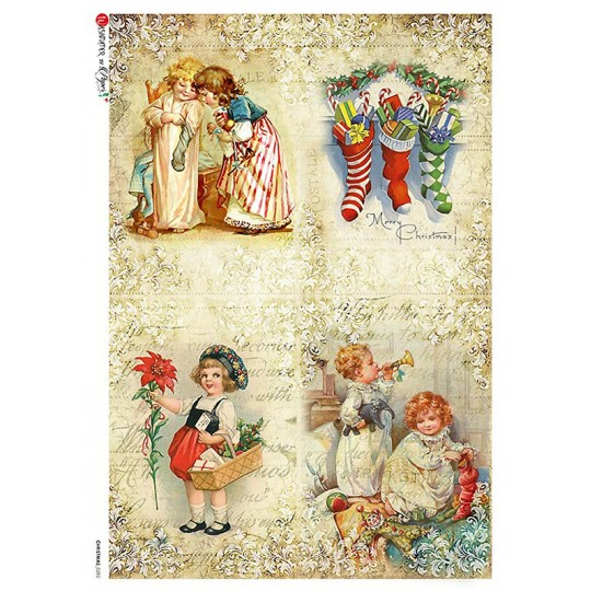 Vintage Christmas Children Rice Paper Decoupage Sheet ~ Italy