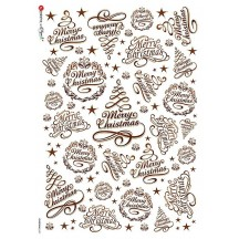Christmas Scripts Rice Paper Decoupage Sheet ~ Italy