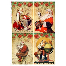 Vintage Christmas Santas Rice Paper Decoupage Sheet ~ Italy