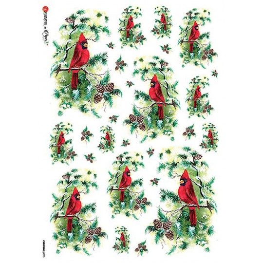 Christmas Cardinals and Pine Cones Rice Paper Decoupage Sheet ~ Italy