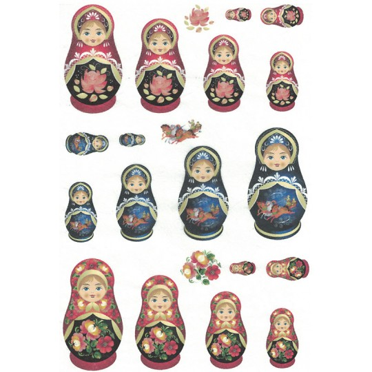 Mixed Matryoshka Dolls Rice Paper Decoupage Sheet ~ Italy