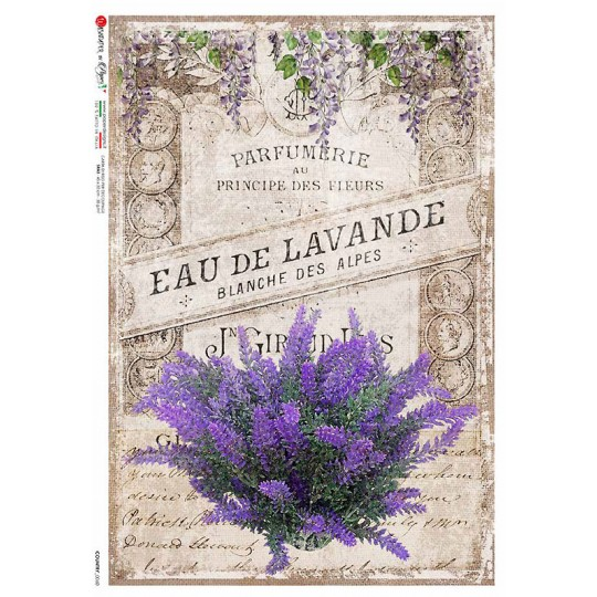 French Country Lavender Collage Ephemera Rice Paper Decoupage Sheet ~ Italy