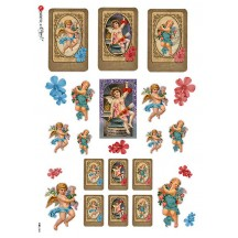 Valentine Cherubs with Hearts and Flowers Rice Paper Decoupage Sheet ~ Italy