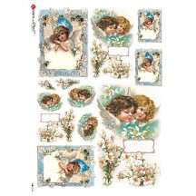 Angels with Lilies Rice Paper Decoupage Sheet ~ Italy